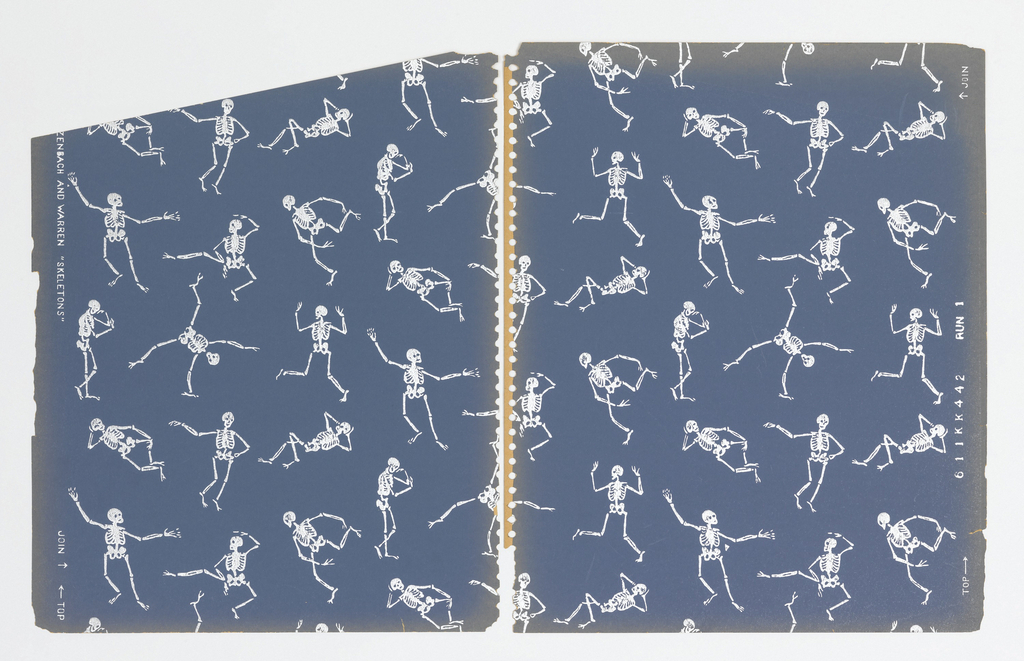 Pattern of skeletons dancing and in repose; repeat is formed of a square of nine skeleton designs repeated in off-set vertical columns; color scheme of white on dark blue.