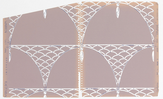 Horizontal rows of arches, off-set vertically so that the bases of each arch are placed above the crowns of the ones beneath them; hanging from the center of each arch is a bauble-like almond-shaped form; spandrels of the arches formed from fish-scale or net pattern; color scheme of white with dark grey highlights on a pale pinkish grey ground.