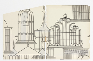 Variety of birdcages in different styles rendered in simple black linework and arranged irregularly on pale off-white ground; random light gray highlights printed slightly off the linework.