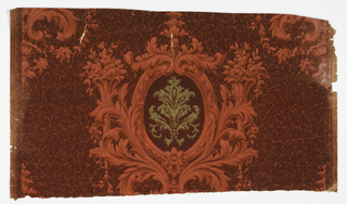 On deep red textured ground, alternating medallions in lighter red with with shiny gold center motif, encircled by foliage plumes and flanked by floral-filled sconces.