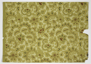 Aesthetic style design, very stylized and flat floral motifs and foliate scrolls. Printed in red, black, light yellow and metallic gold on yellow ocher ground.