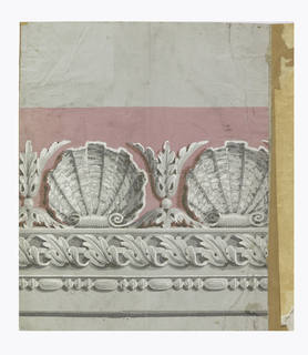 Top band of shell and acanthus with pink background. Central band of rod with acanthus twist. Bottom boand of bead and reel. Printed in grisaille with pink background on gray ground.