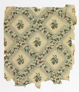 "Diamond trellis design. Trellis pattern is gray band with vining floral. Insedt panels containing floral bouquet. Printed in brown, green and gray on off-white ground. c. 1850, from Capt. Farlen House, Salem. Printed in selvedge: ""1346""."