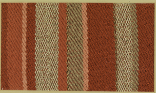 Woven sample with horizontal stripes of varied widths in red, tan, orange and pink. The warp is red cotton; the wefts are various yarns including tan rayon bouclé, flat gold metallic strips, gold-wrapped silk core yarn, pink cotton chenille, tan silk, and red bouclé.