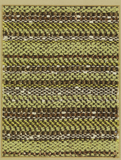 Woven sample with horizontal stripes in yellow, yellow-green and brown with gold and copper metallic effects. The warp is dark brown cotton; the wefts are of yellow silk, white cotton, braided flat copper metallic strips, braided flat gold metallic strips, and yellow-green cotton chenille.