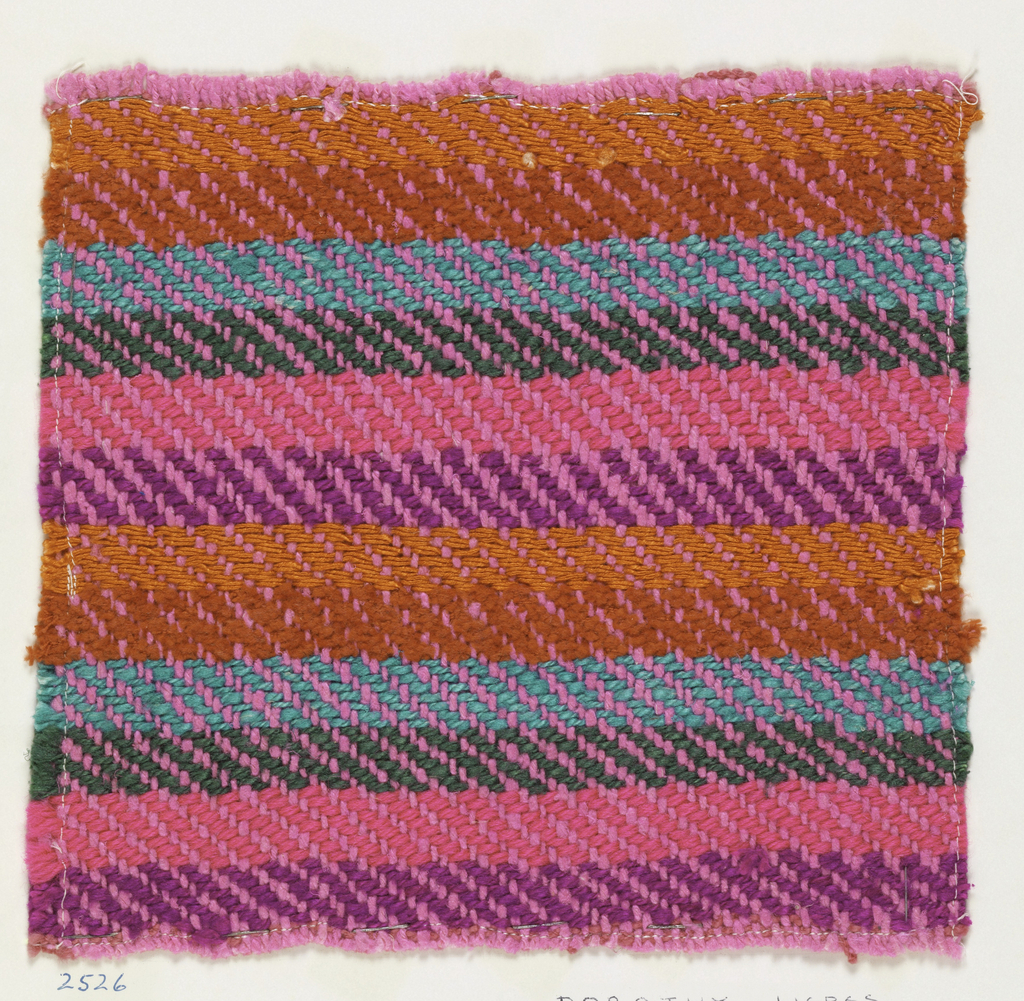 Woven sample mounted to a cardboard card with notations by the designer. Horizontal stripes of gray-green, violet, tuquoise, red, bright pink and orange. Warps are pink wool; wefts are green, blue, violet and bright pink synthetic yarns, red cotton chenille, and orange silk.
