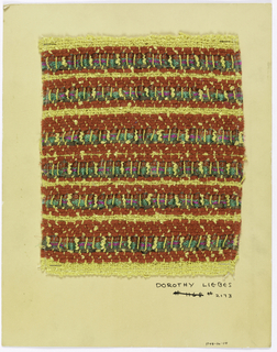 Woven sample mounted to a cardboard card with notations by the designer. Horizontal stripes of varied widths in red, yellow and green-gold. Warps are yellow cotton and rayon; wefts are yellow bouclé, red cotton chenille, plaited gold metallic ribbon, and patterned rayon ribbon.