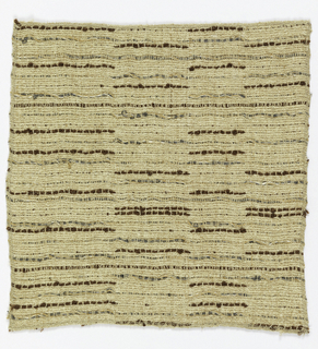 Subtle horizontal bands made up of short vertical stripes of brown, gray, beige, and silver yarns in various textures.