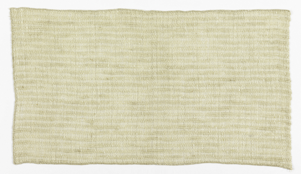 Loosely woven, off-white plain woven ground of irregularly spun yarns, with horizontal ribs formed by pairs of loosely spun tan wool wefts.