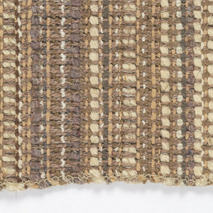 Narrow vertical stripes shading from off white through browns, in various textures