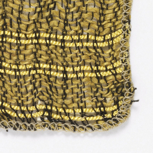 Bands of loosely spun linen wefts alternating with two closely set shining rayon cords in the same yellow; fine black cotton warps.