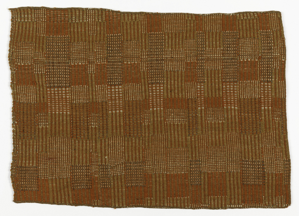 Alternating white and gray warps; weft is orange and olive. Both warp and weft have floats in order to make an irregular pattern of squares and rectangles.