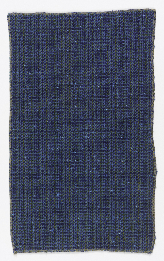 Heavy, textured fabric in shades of blue, with blue metal strips in the weft.