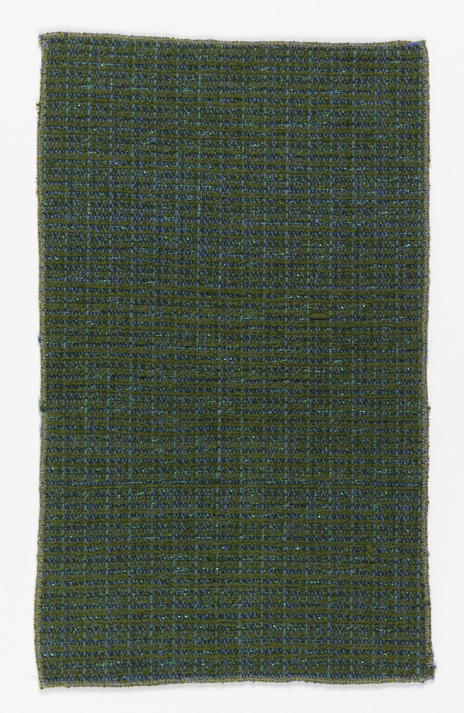 Heavy, textured yarns in shades of green, with strips of green metallic in weft.