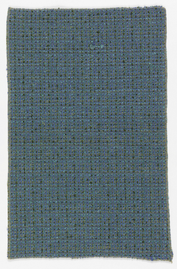 Heavy, closely woven, with strips of blue metal in the weft.