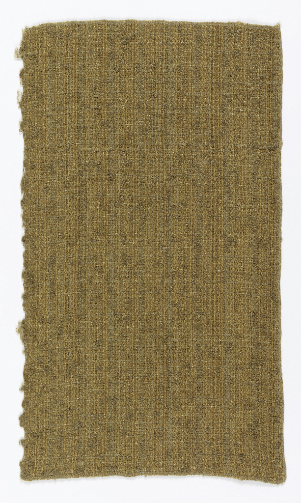 Heavy, loosely woven fabric, in shades of tan with gold metallic. Woven in natural yarns and piece-dyed.