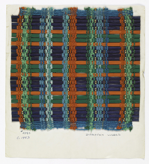 Chenille and plied yarn in red, green, blue and gold cord form even warp stripes. Weft has a repeated sequence of painted reeds: four blue, one orange, two green, and one orange.