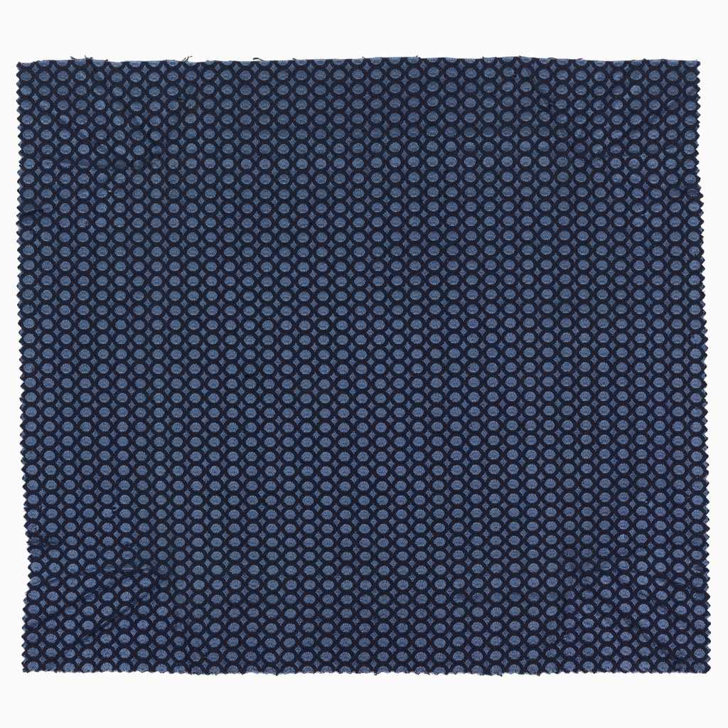 Circle and diamond pattern in navy and blue.