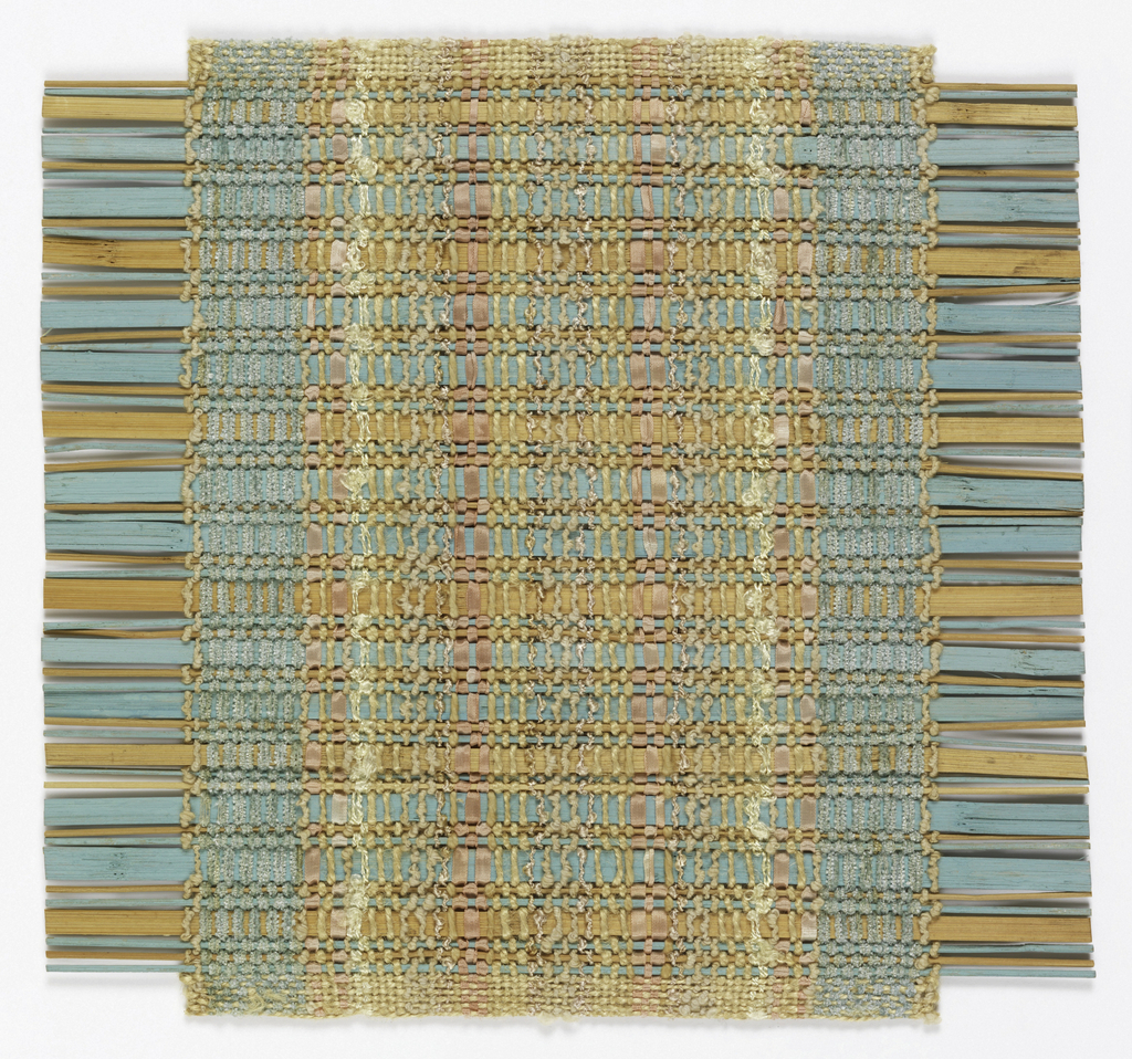 Sample for a window blind or room partition. Llight blue chenille yarn, pale pink ribbon and cream-colored yarns create vertical warp stripes. Weft is comprised of natural and light blue bamboo.