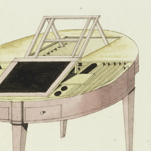 A half-round table fitted with hinged top, under which are fittings for a writing table; plans, elevations and isometric. An almanac on desk dated 1805.