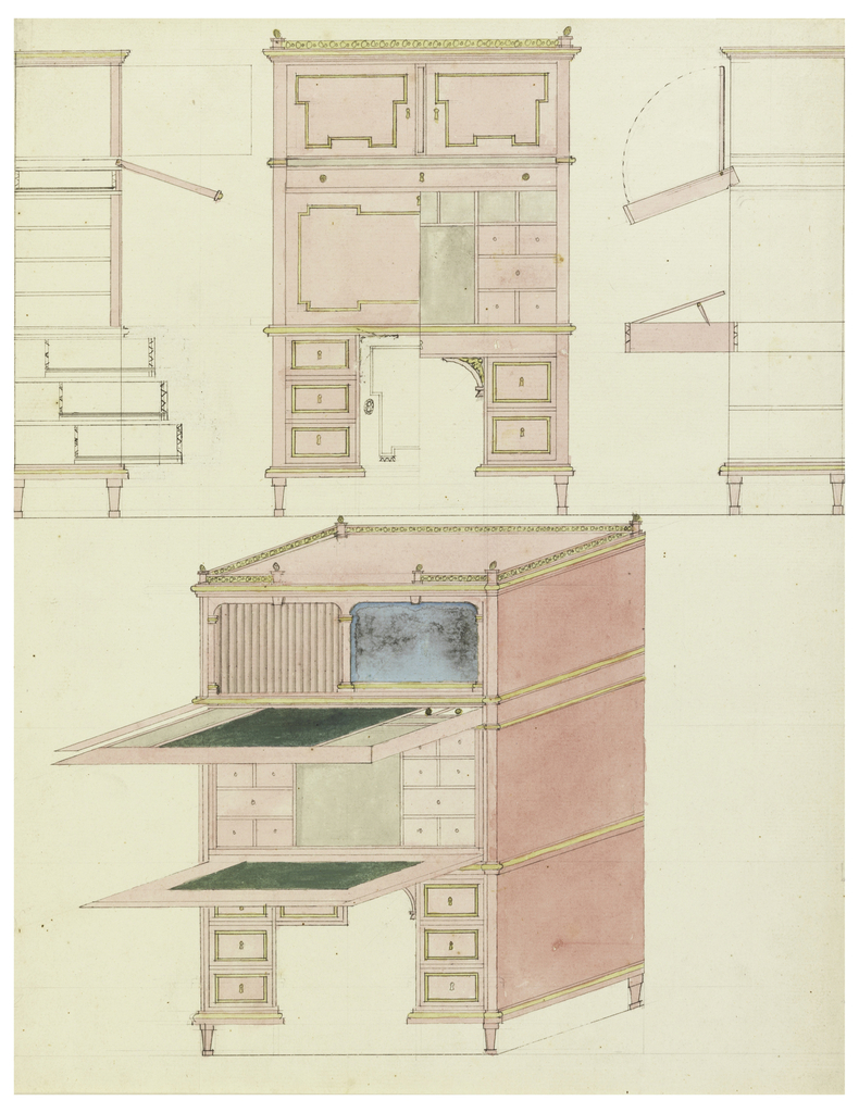 A secretary with double fall-front, one above the other, showing alternative treatment of kneehold base; elevation, two sections, and isometric.
