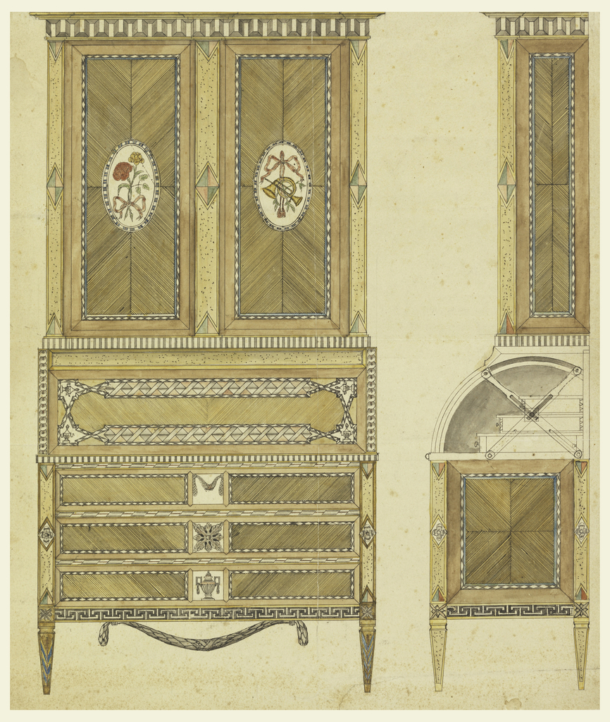 A cylinder-top secretary bookcase, with marquetry decoration; elevation and combined side elevation and section, showing mechanical arrangement of desk top.