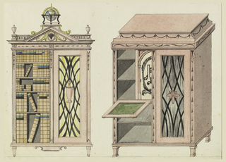 Two cabinets, one with pediment surmounted by a geographer's globe, the other fitted with a slide for writing. The former in elevation, the latter in isometric projection.