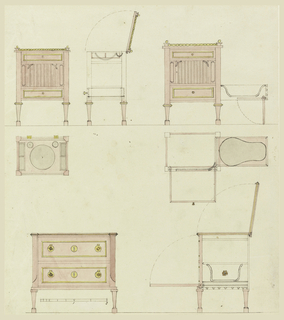 Three washstands with bidets; upper plan, section and elevation; upper right, plan, section and elevation; lower, section and elevation. Lower left, scale.