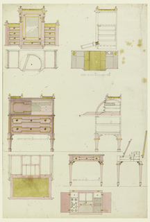 Above, wardrobe; center, desk; lower, combination writing and dressing table; top, two plans, section and elevation; center, section and elevation; two plans, section and elevation. Below, scale.