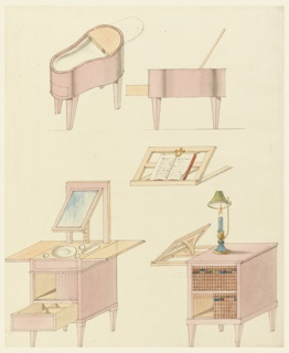 A bidet is seen in isometric projection and in elevation. Below, a washstand, with drawer extended, which from the other side appears as bookcase with bookstand and reading (argon) lamp.