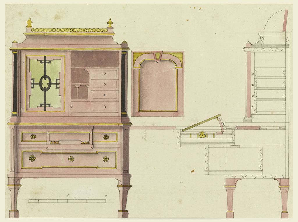 Left, front elevation of a design for a writing desk. Upper section with double doors enclosing fitted desk sections, surmounted by a hood with concave molding, and carved railing with finials at corners. Lower section with two long drawers on legs. Right, details of construction, section through side. Scale below.