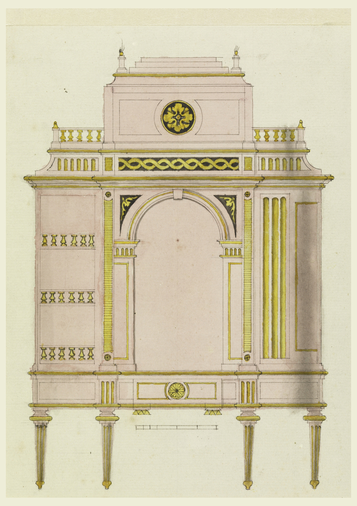 A cabinet on legs has an arched central bay surmounted by a coffer-shaped section with finials. The left side shows three shelves with railings. The right side is a half-round closed cabinet. Scale below.