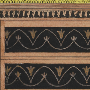 Chest with six drawers decorated in marquetry inlay of stylized flowers between scallops. Similar decorations on piers and cornice. A metal gallery between finials above.