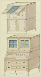 Above, two tiers of cupboards, the upper one revealing, in half-section, a series of small drawers. The cupboard sections are surmounted by a long drawer, shown open, displaying fittings for writing purposes. Below, a railing cresting over double doors, each with four glass compartments, flanked by pilasters. Center with fixed desk sections enclosed by a curved lid, seen in half-section; base on legs with two long drawers. Scale below.