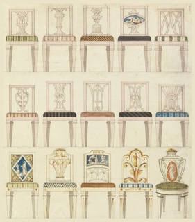 Fifteen side chairs shown in front elevation, arranged in three rows. All of the chairs have upholstered seats showing a variety of textile patterns.