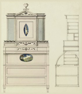 A secretary desk, section and elevation. It is ornamented with two painted panels, one, lozenge-shaped, of a dancing bacchante; the other, a horizontal oval of a landscape with ruins. Upper portion has tambour cabinets either side of a square central bay, pedimented and surmounted by an urn.