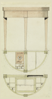 A half-round table, elevation and two plans showing fitting for writing implements.