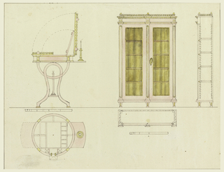 Upper left, side elevation of a dressing table with fitted compartments; lower left, details of construction, show through top. Right, front elevation of a design for a bookcase with double glass doors, flanked by pilasters and surmounted by dentil mounting and railing cornice with center and corner finials. Details of construction, side and top. Scale below each piece.