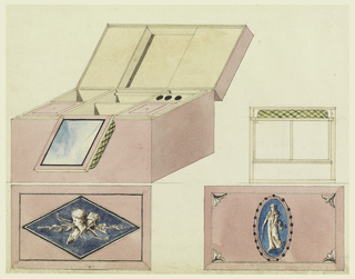 A toilet box, with lid open is shown in isometric projection. Below, lid, with painted lozenge with motif of Cupid's head, bow and quiver. Right, another box shown in plan, and below, the lid with oval medallion of a standing vessel.