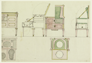 Two combination washstands and bidets, each with plan, section and elevation. One shown in plan and elevation only; the other shown in elevation, plan and twice in cross-section.
