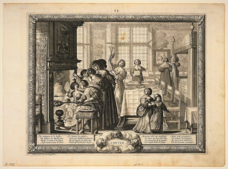 Scene of the interior of a house. At left a group of women are making fritters over an open fire. At center a table is being set. At right beyond a bed frame, a woman stands before a mirror. Image enclosed in engraved frame
