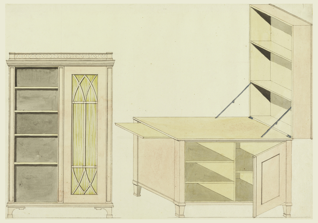 Left, a bookcase with one-half showing glass door, seen in elevation. Right, isometric projection of a desk with tilting top, shown open, forming shelves. Sliding shelf at one side.