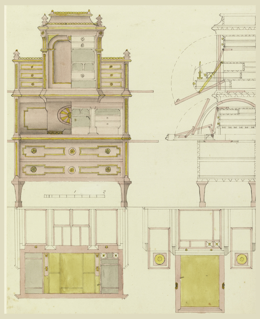 Upper left, front elevation of a desk. Upper section with center having flap opening to a compartmented interior with drawers and pigeon-holes, flanked by two lower sections with short drawers; center with flap opening to another series of compartments, and fitted for writing; below, two long drawers on legs. Upper right, details of construction, sections at two levels, shown from above. Scale at left.