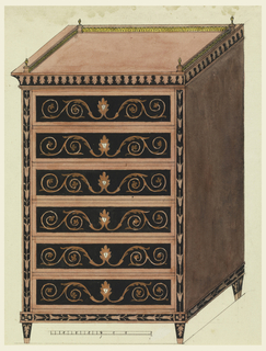 Chest with six drawers decorated in marquetry inlay of arabesques. Piers and cornice in stylized plant forms. A metal gallery with finials at the corners above. Piece shown in isometric projection. Scale below.