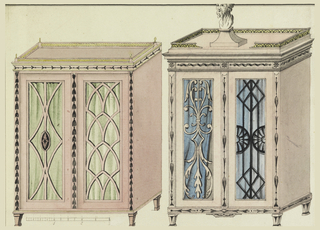 Two cabinets, each with alternative treatment of door tracery and one with pedestal and bust on top. Scale below.