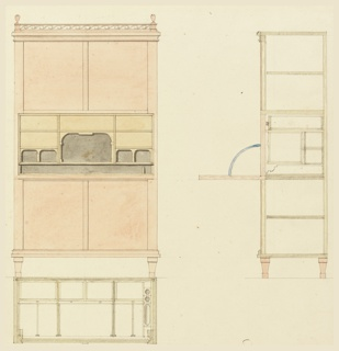 Design for a secretary desk with a fall-front on hinges, and cabinets above and below. Elevation at left with desk open, revealing the inner compartments. At lower left, detail of construction, section through top. At right, side elevation, showing construction details.