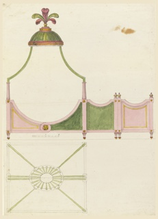 Frame of a canopied tent bed seen in elevation, surmounted by a small dome and cluster of feathers.  Inside and outside views and plan shown.