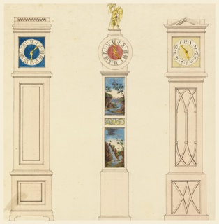 Center design: case with painted panels of landscapes, the hood surmounted by the figure of Chronos. Clocks to left and right have simple wood cases, the design at right having a pedimented hood and panels with painted tracery.