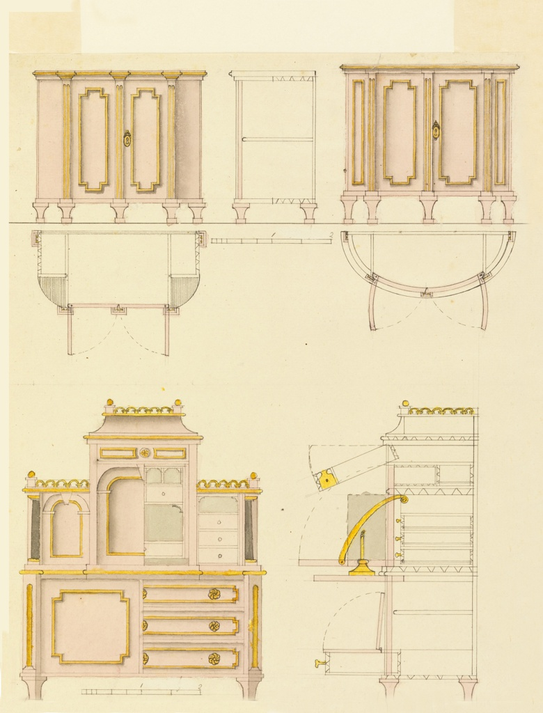 Drawing, Designs for Mechanical Furniture: Cabinet and Desk
