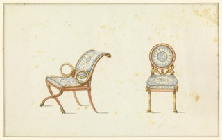 Left, armchair in curule style characterized by x-shaped front legs, terminating in goat hoofs.  Armrests in form of coiled snakes, backrest sloped.  Upholstered in blue and white, classical motifs. Right, side chair, circular back supported by busts of Harpies, with center palmette. Legs in form of goat legs, goat head at knee of chair. Upholstered in blue and white, medallion on back of chair showing classical winged figures.